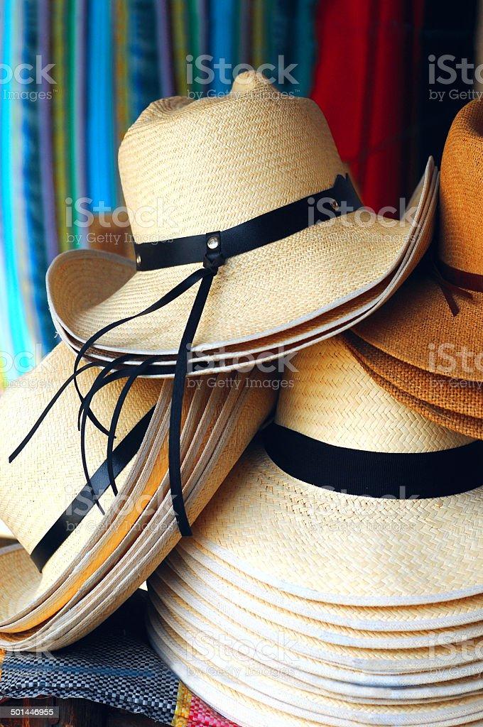 Handmade traditional Panama Hats, Ecuador stock photo