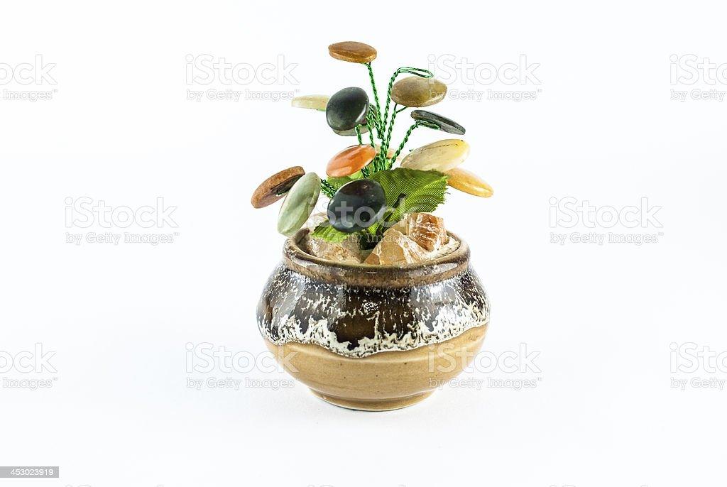 Handmade tree from jewelry stones royalty-free stock photo