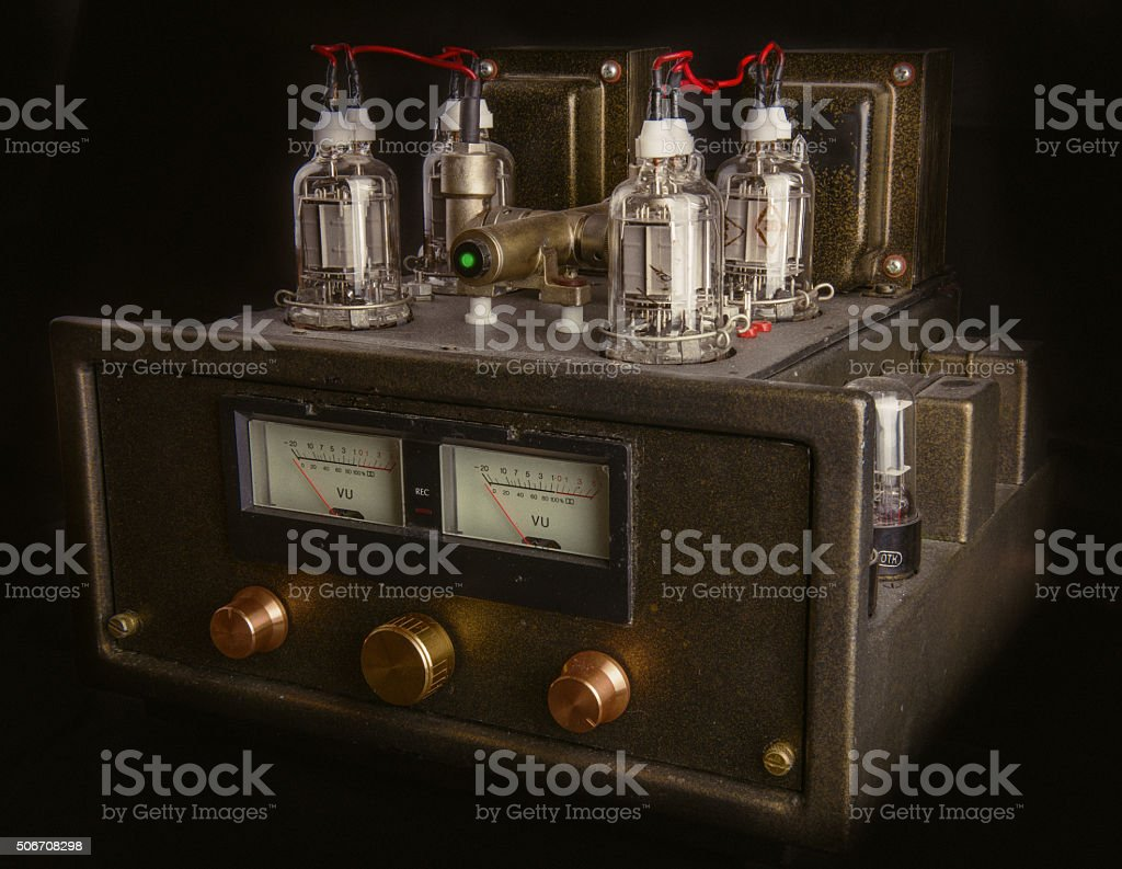 handmade tube amplifier stock photo