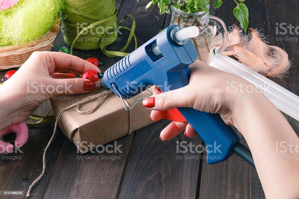 Handmade using hot melt gun stock photo
