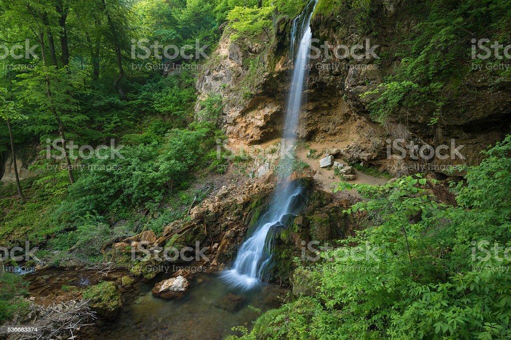 handmade waterfall in Lillafured park stock photo