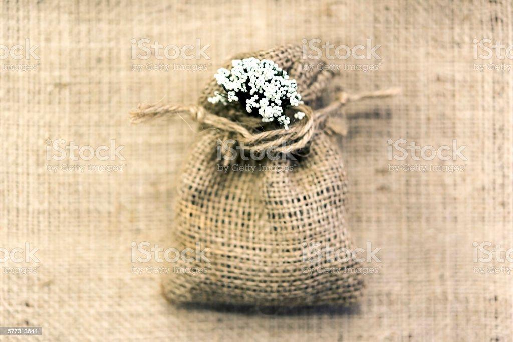 handmade wicker sack for the gift stock photo