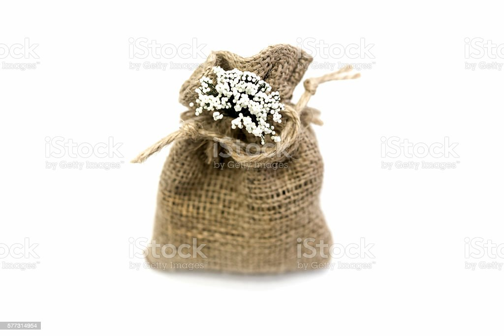 handmade wicker sack for the gift stock photo