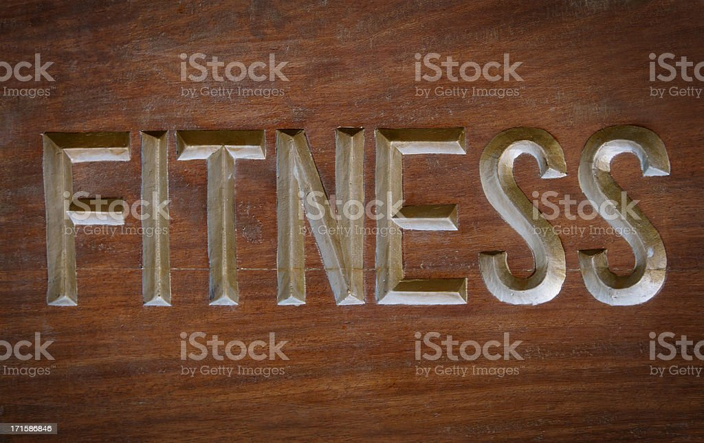 Handmade wooden fitness sign royalty-free stock photo