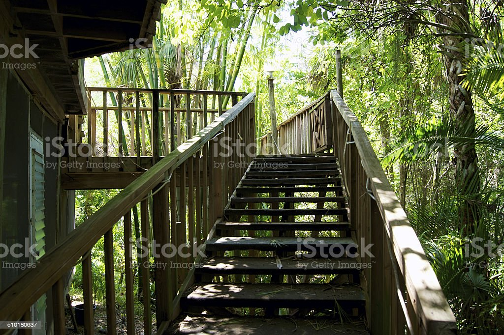 handmade wooden staircase in tropical seting stock photo