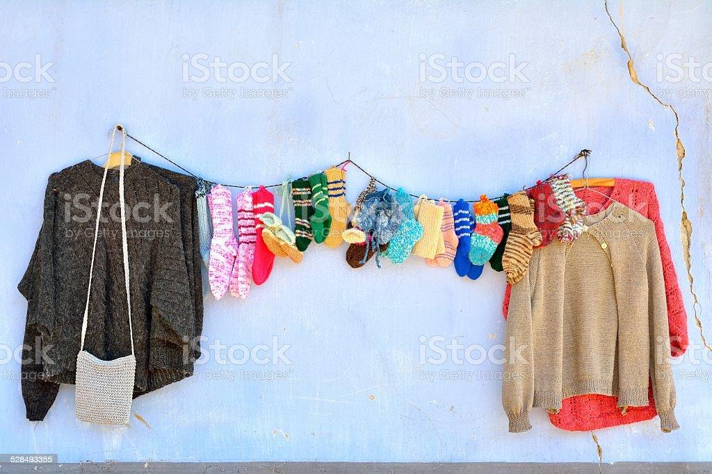 Handmade wool clothes from Viscri village, Transylvania stock photo
