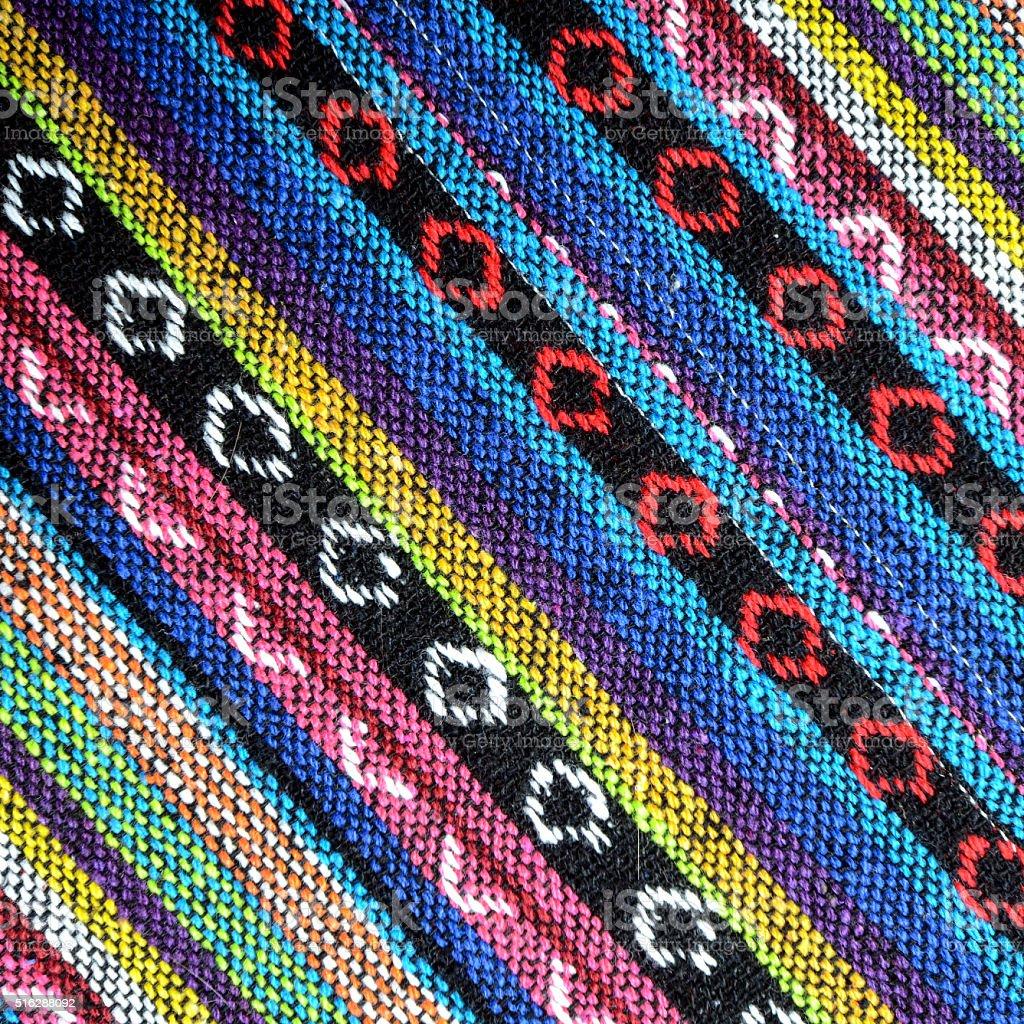 Handmade woven cotton fabrics. stock photo
