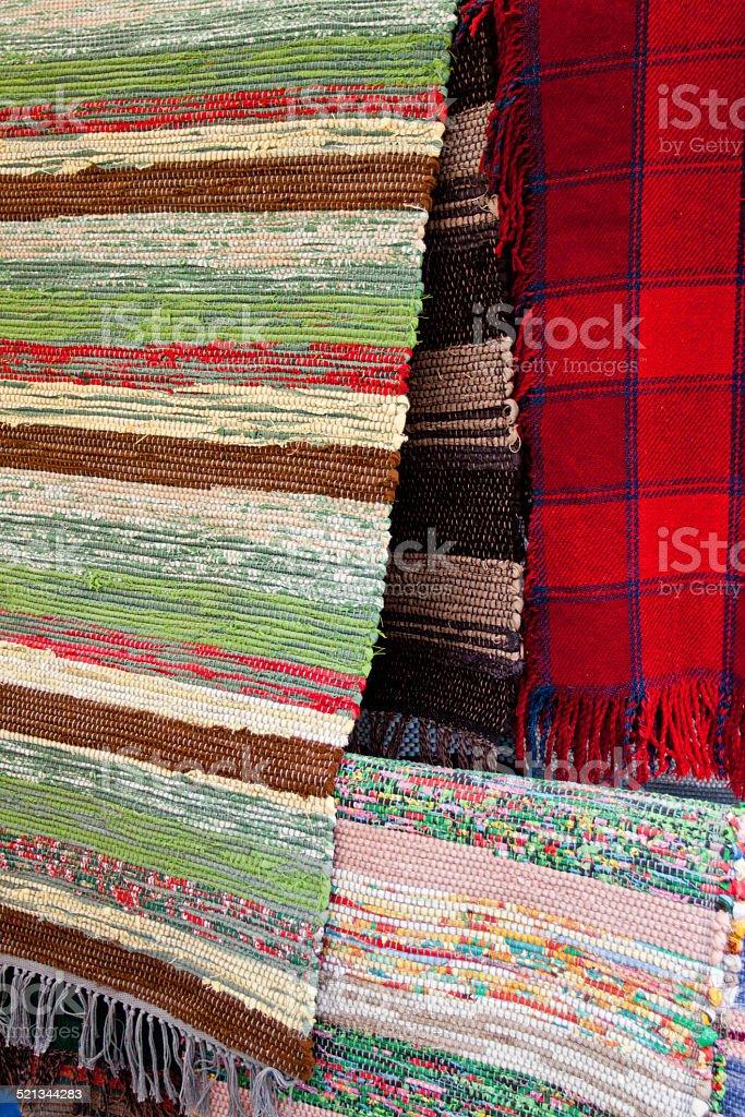Handmade woven rugs stock photo