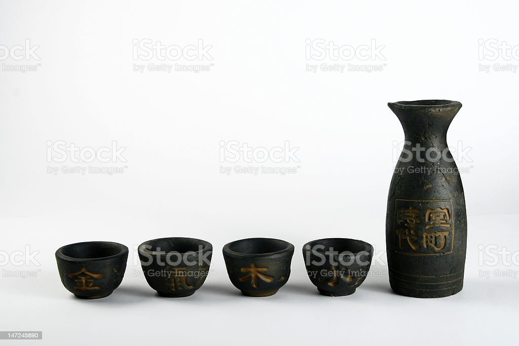 handmaded sake set stock photo