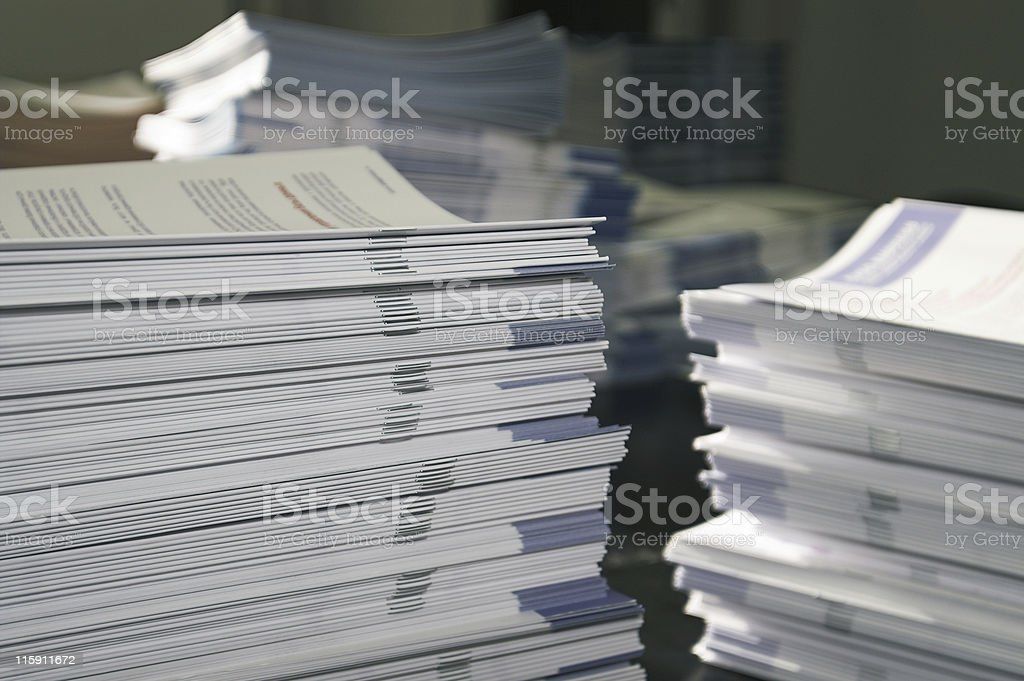 Handout Paper Piles stock photo