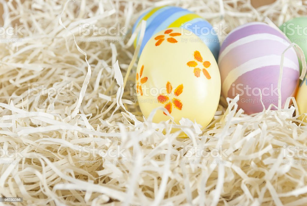 Handpainted Easter Eggs Nested royalty-free stock photo