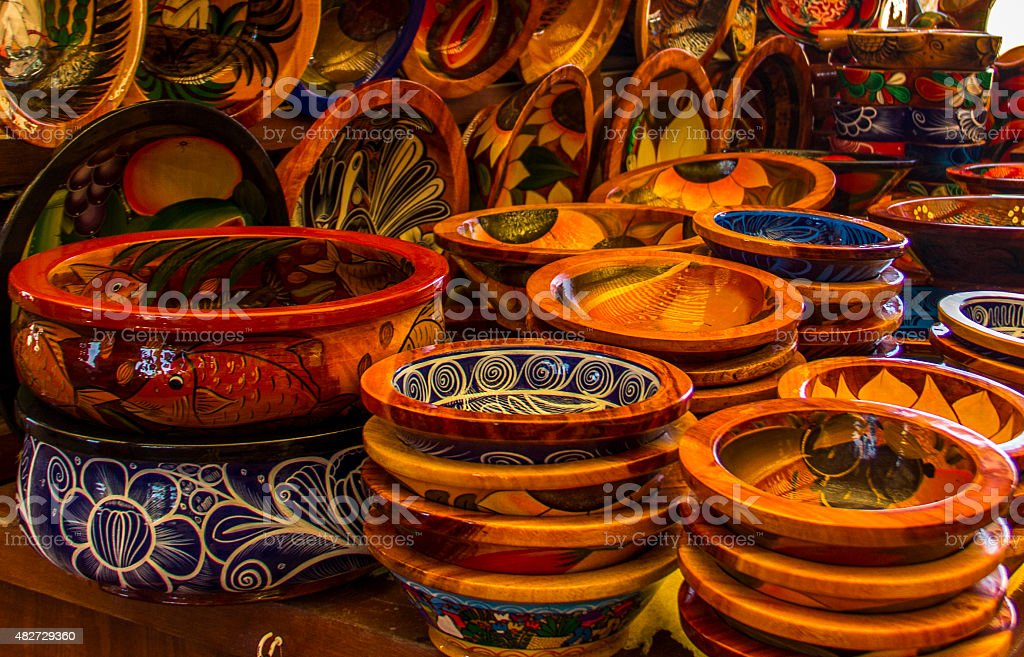 Handpainted pottery at Mexican market. stock photo