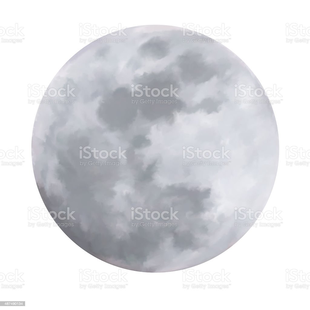 Hand-painted silvery, full moon stock photo