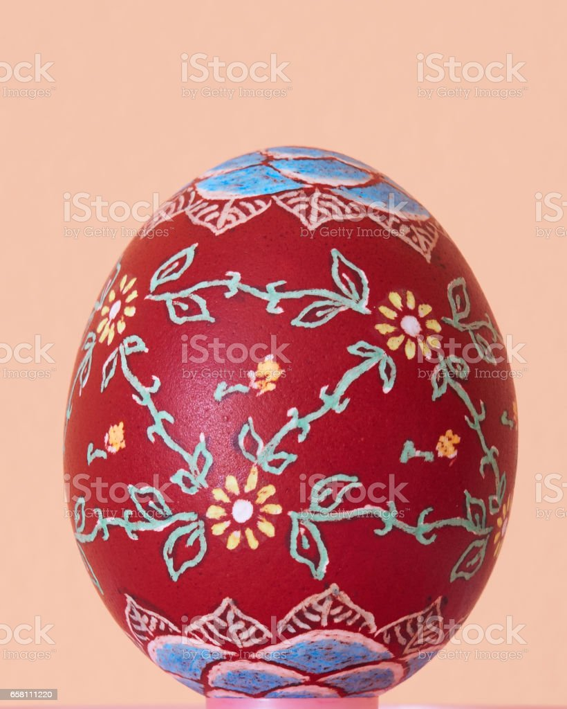 Hand-painted traditional colorful Easter egg stock photo