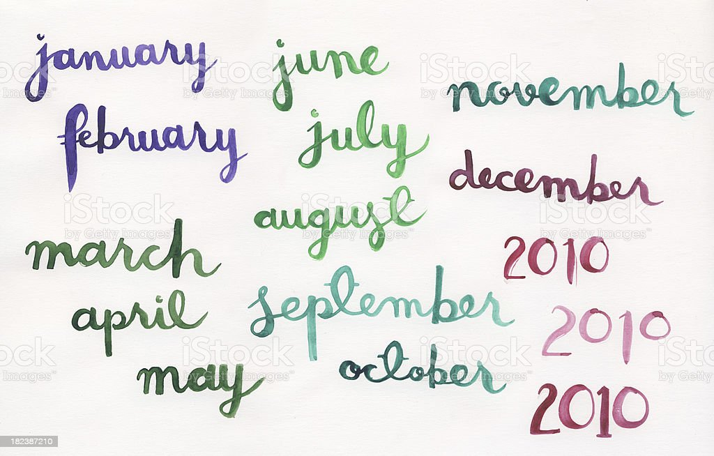 Handpainted watercolor months royalty-free stock photo