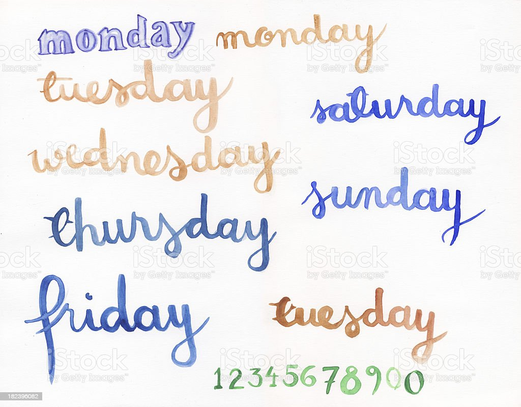 Handpainted watercolor weekdays royalty-free stock photo