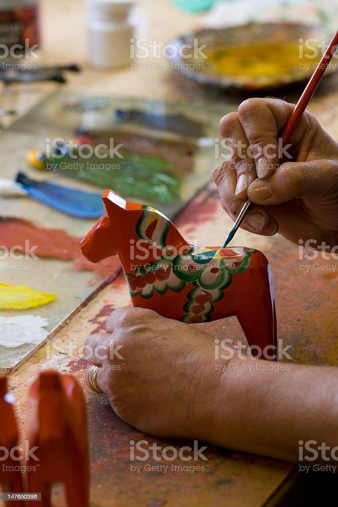 Handpainting of a Dalarna horse. stock photo