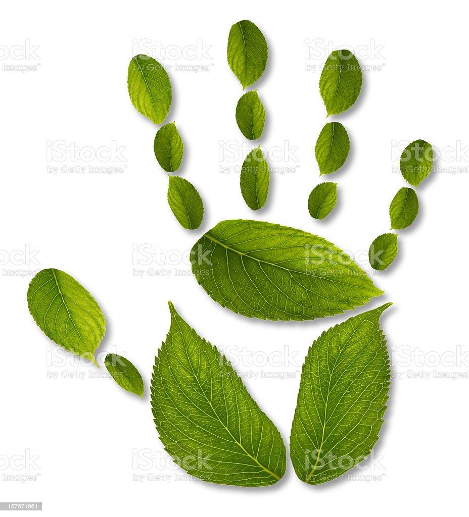 handprint - ecological impact concept stock photo