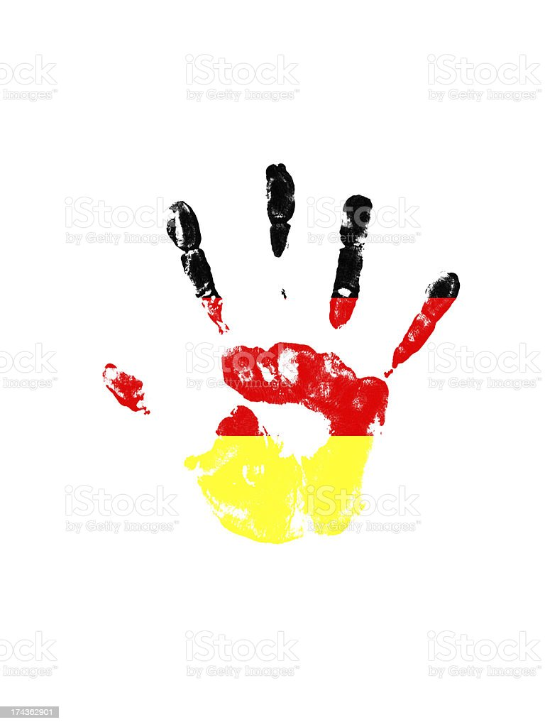 handprint in Germany color stock photo