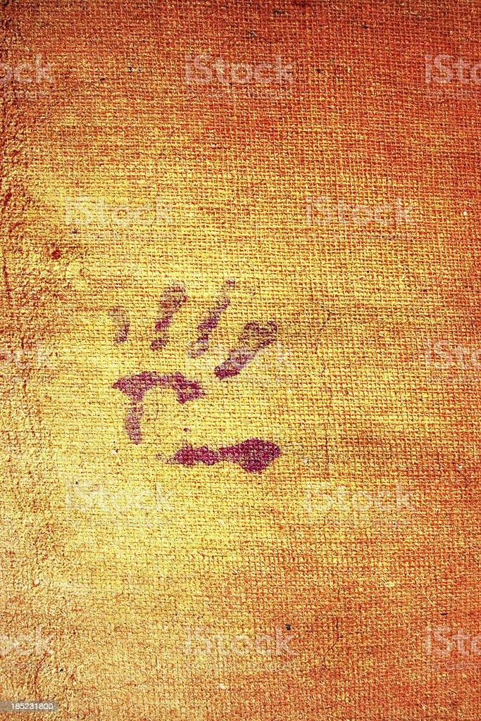 Handprint on grunge canvas royalty-free stock photo