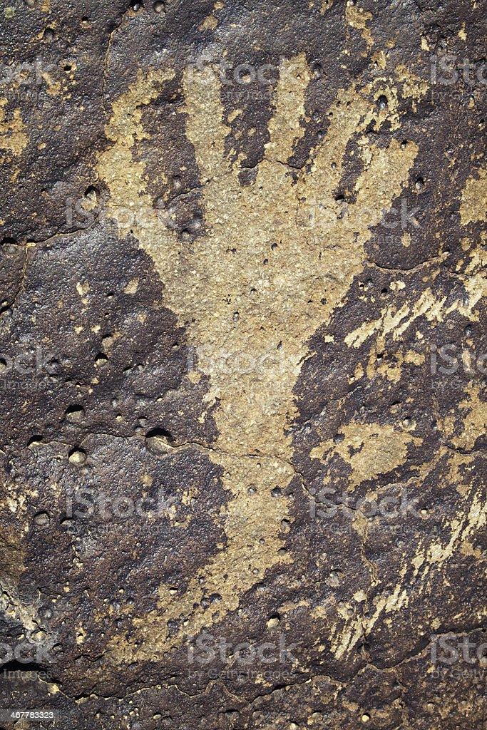 Handprint Pictogram - Petroglyph National Monument royalty-free stock photo