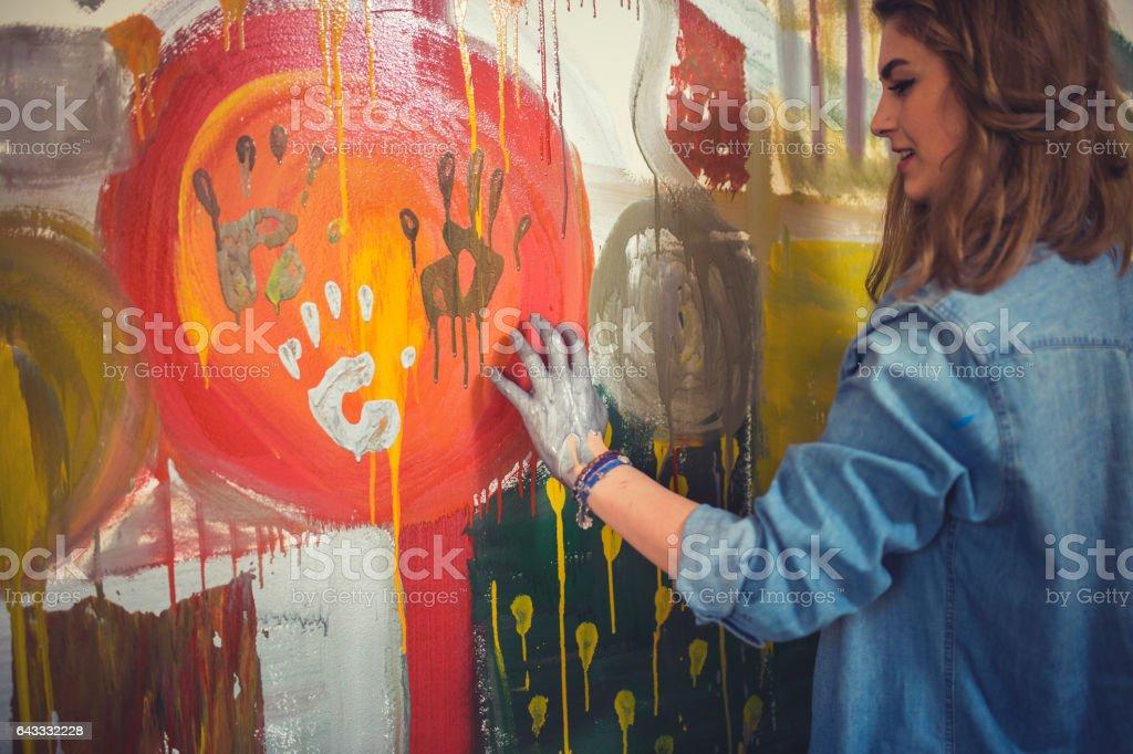 Handprinting artist stock photo