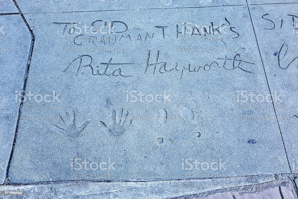 Handprints and Footprints Rita Hayworth Chinese Theatre Hollywood stock photo