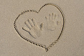 Handprints and heart drawn on the sand
