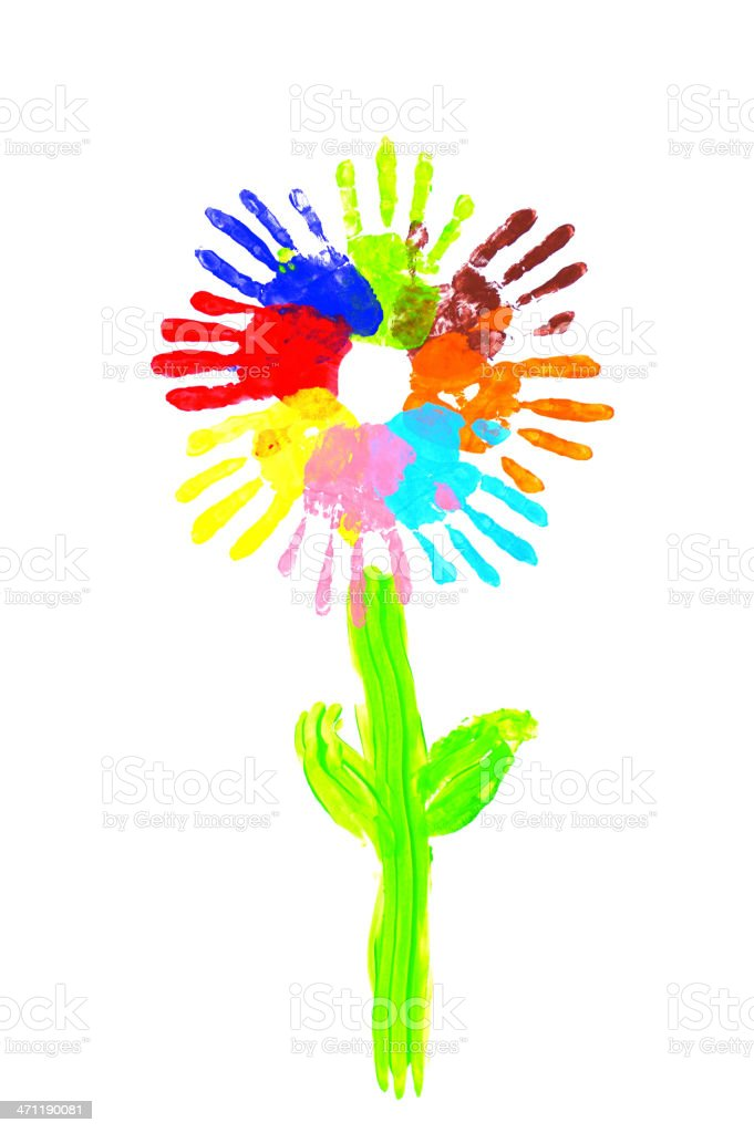 Handprints flower multicolor royalty-free stock photo