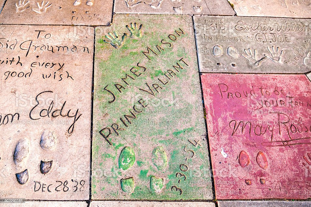 handprints in Hollywood Boulevard in the concrete stock photo