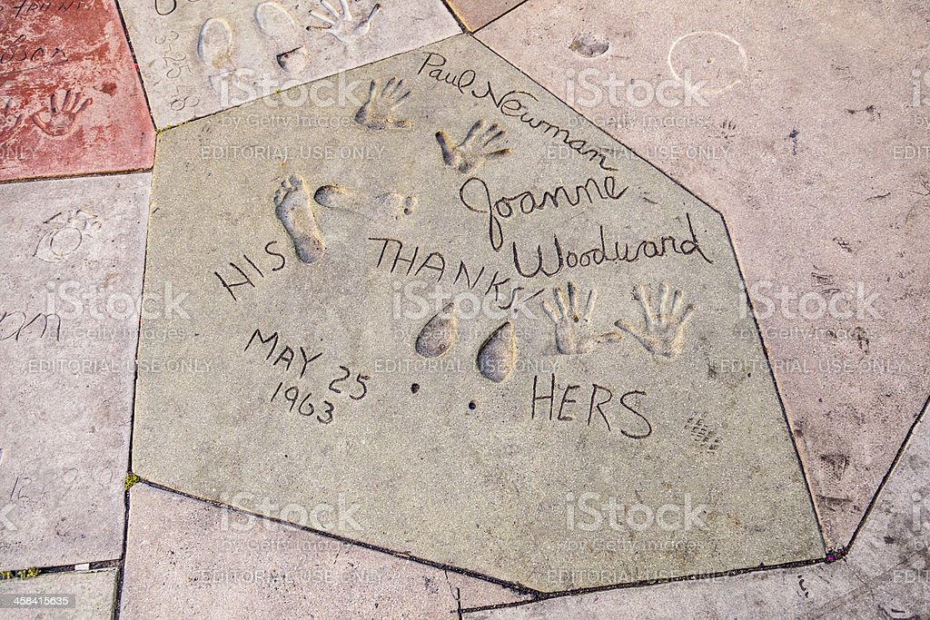 handprints in Hollywood Boulevard stock photo