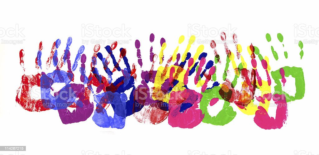 Handprints multicolor border stock photo