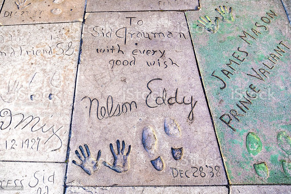 handprints o fNelson Eddy and James Mason in Hollywood Boulevard stock photo