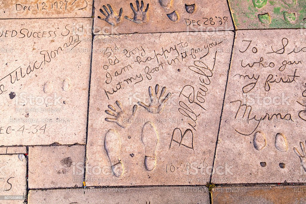 handprints of Bill Powell and Myrna Loy in Hollywood Boulevard stock photo