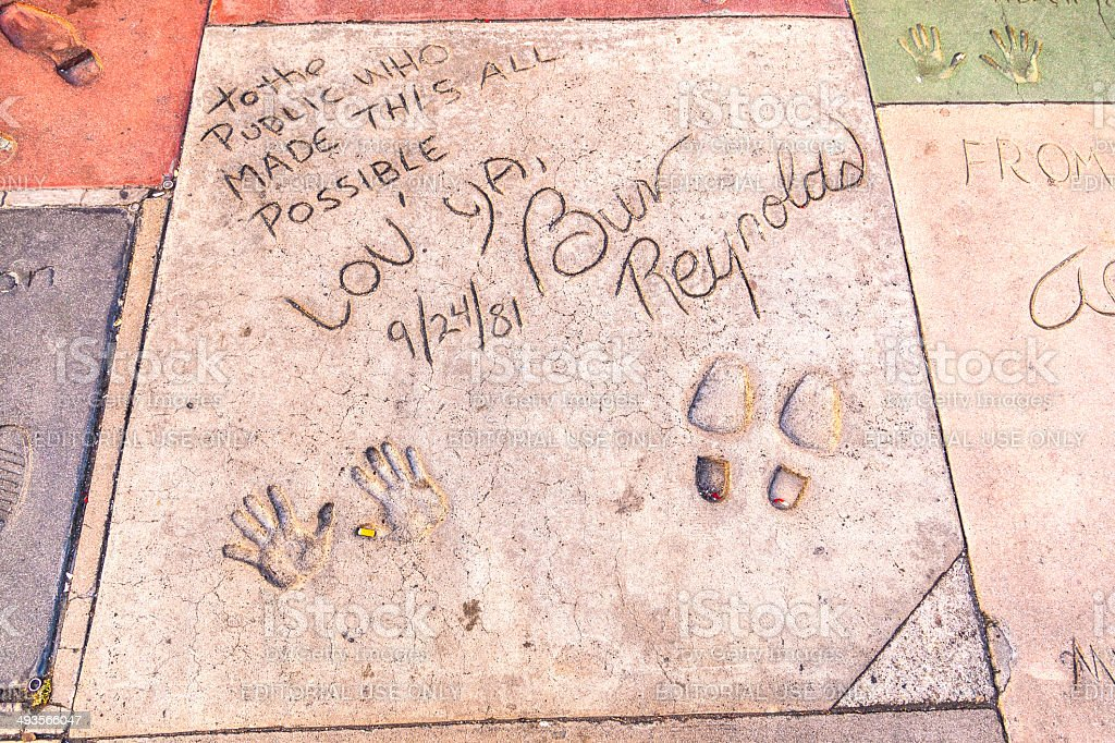 handprints of Burt Reynolds in Hollywood Boulevard stock photo