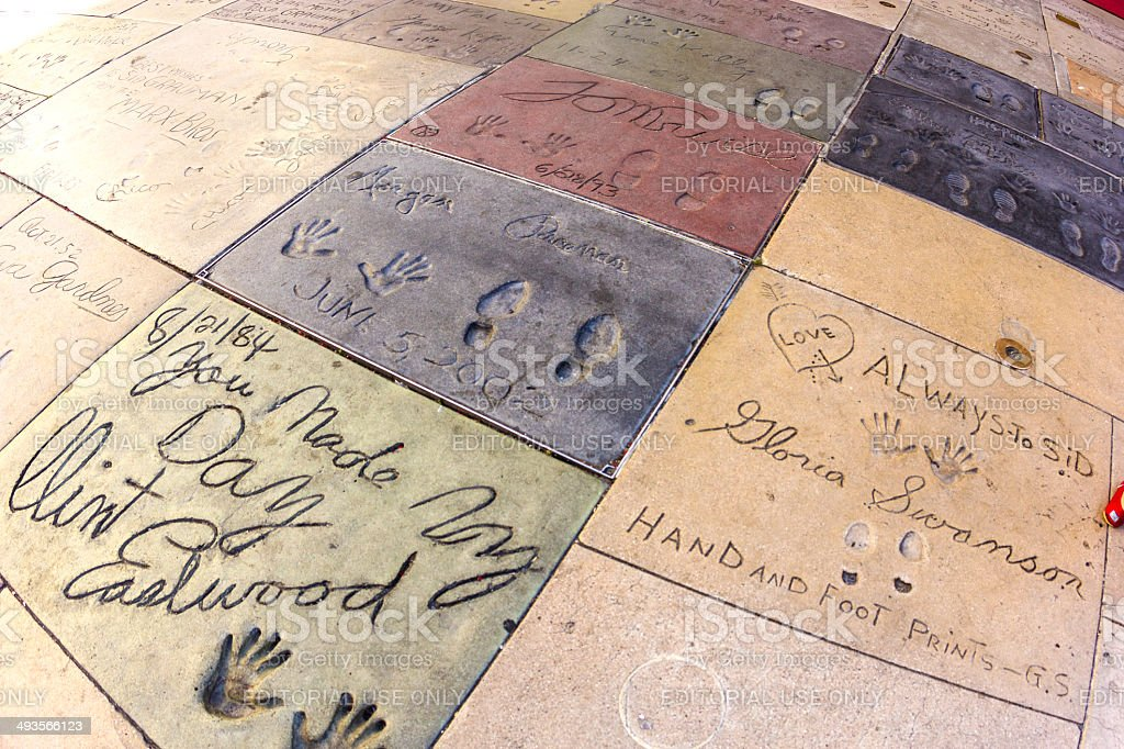 handprints of Clint Eastwood in Hollywood Boulevard in the concr stock photo