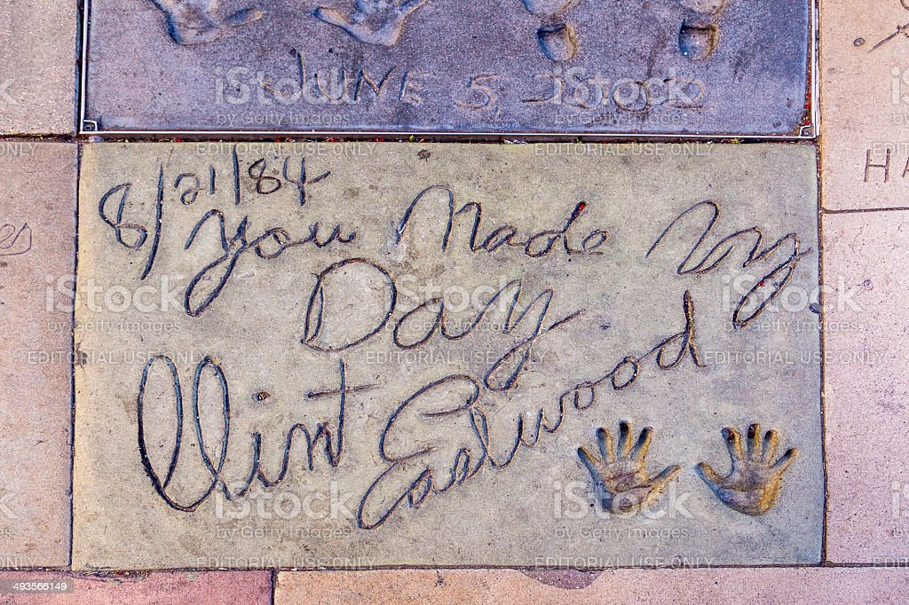 handprints of clint eastwood in Hollywood Boulevard in the concrete stock photo