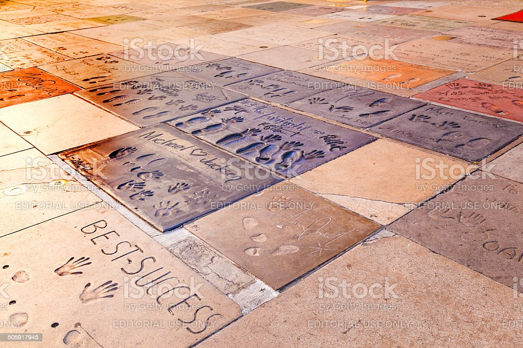 handprints of Michael Jackson in Hollywood Boulevard in the conc stock photo