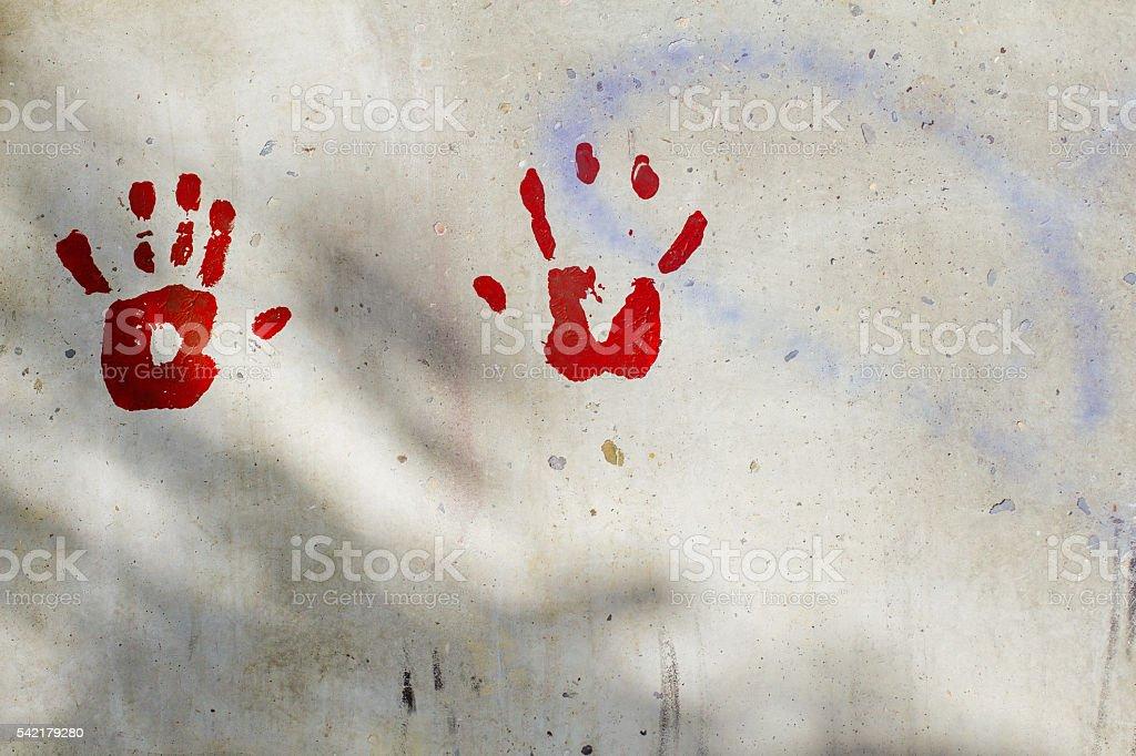 Handprints on Wall stock photo