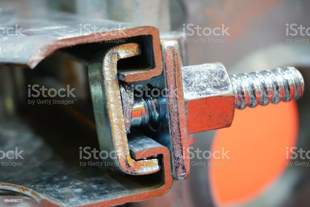 Handrail for wedge binding type scaffold and universal clamp stock photo
