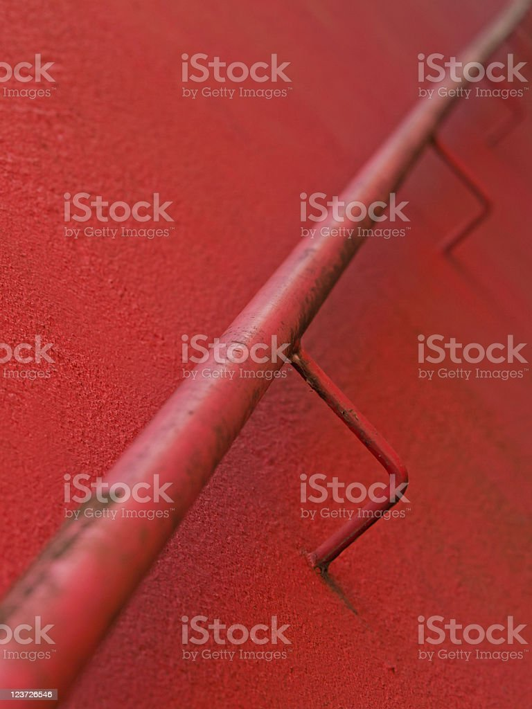 Handrail in red stock photo