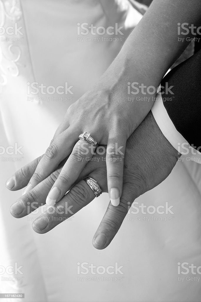 Hands and Bands - Just Married stock photo