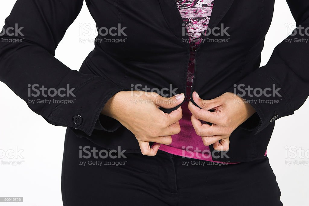 Hands and black jacket stock photo