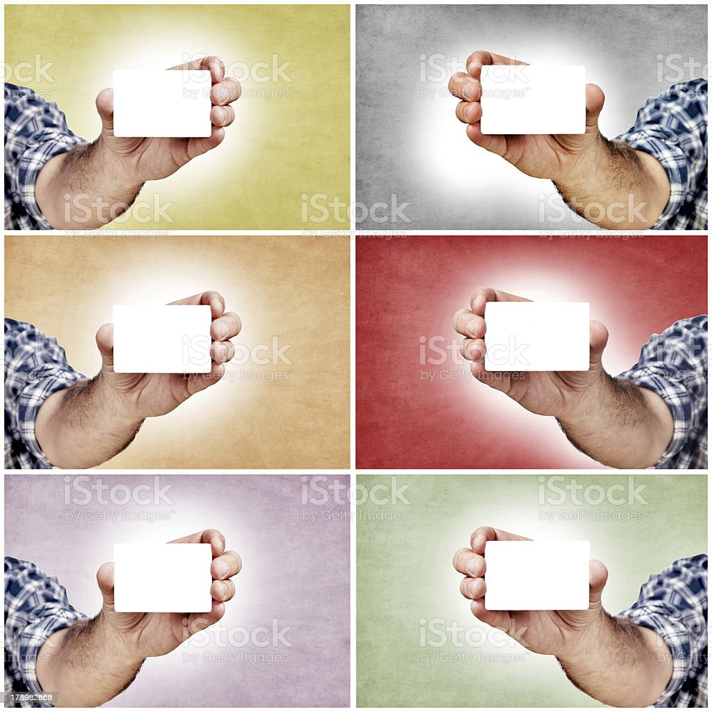 Hands and blank cards royalty-free stock photo