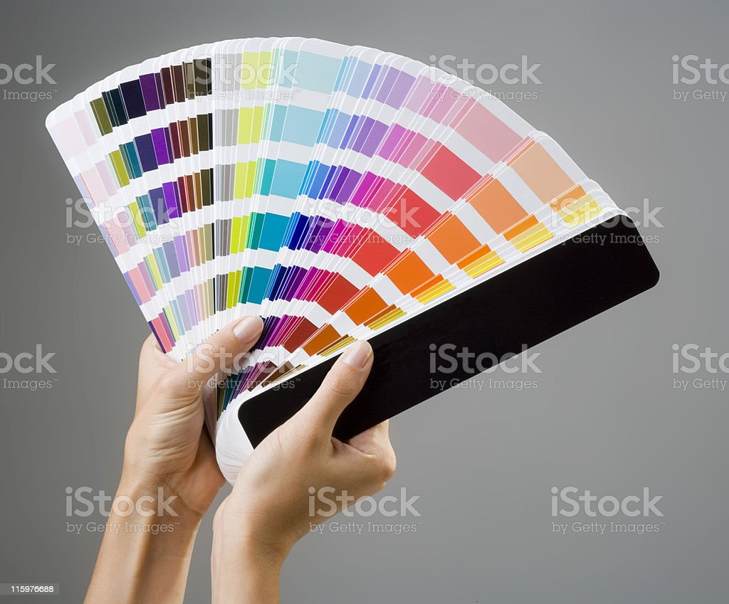 Hands and color guide royalty-free stock photo