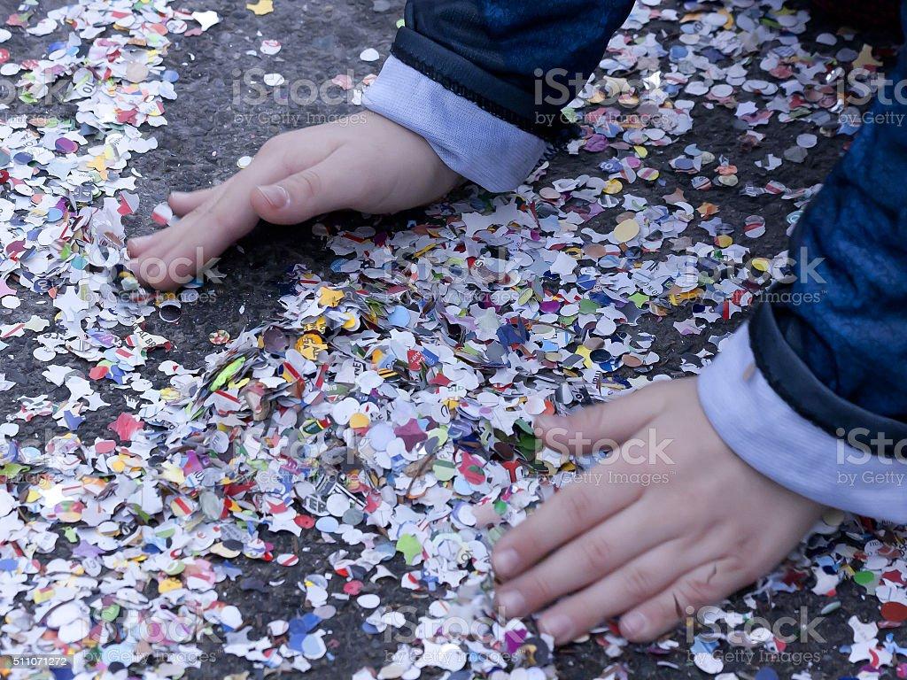 hands and confetti stock photo