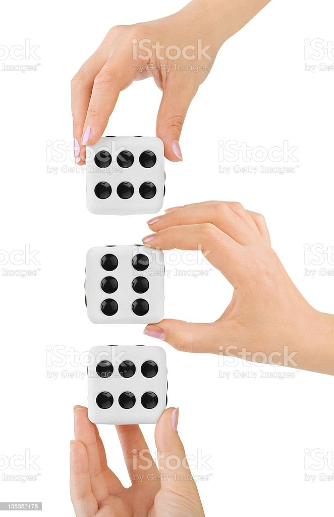 Hands and dices royalty-free stock photo