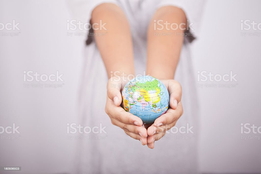hands and earth globe. royalty-free stock photo