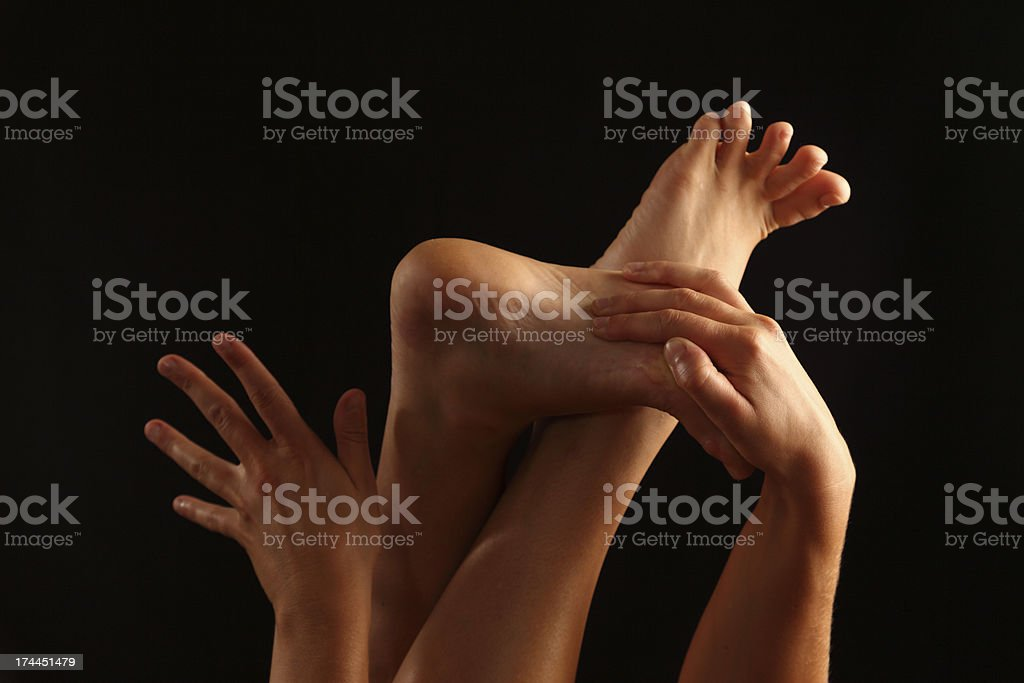 Hands and feet royalty-free stock photo