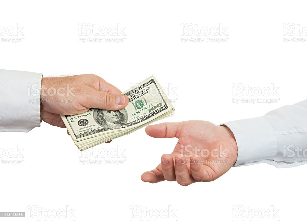 Hands and money stock photo